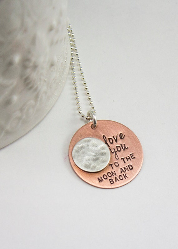 Love You To the Moon and Back Necklace-Valentine's Day gift-Personalized Necklace - Mommy Jewelry- Gift for Her - Mother's Jewelry-full moon
