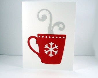 Hot cocoa mug holiday card, Christmas card, xmas card, red & white, snowflake card, winter note card, simple card, holiday note card