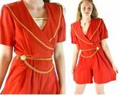 80s Vintage Womens Romper Shorts Red Sailor Collar NAUTICAL Romper Gold Metallic Trims Pleated Shorts High Waist Romper Shorts M / L