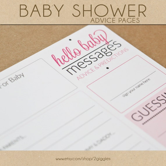 Baby Shower Advice Pages - PINK