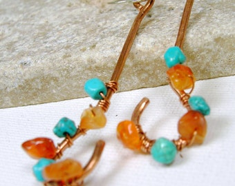 Wire Wrapped Copper Earrings  Dangle Turquoise Earrings Gemstone Earrings Sterling Silver Earwires
