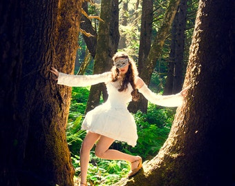 Custom Mini Hoop Dress Any Color and Any Size | Ice Fairytale Dress | Alternative Wedding Dress | Masquerade Ball Room Dress | Swan Princess