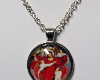 Christ ascending with the angels pendant with chain - AP05-049