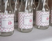 Water Bottle Labels - Pink Elephant Baby Shower Decorations - Pink & Grey It's a Girl Theme - Elephant Labels (12)