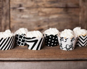 12 Black Cupcake Wrappers - PICK YOUR PATTERN - Black White Cupcake Wrappers - Great for Birthday Parties, Baby Showers & Wedding Receptions
