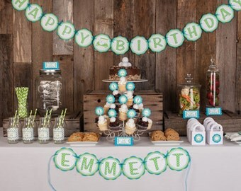 Golf HAPPY BIRTHDAY Banner Party Decorations, Golf Cart Birthday Banner, Golf Birthday Party Decorations - Aqua Blue and Green