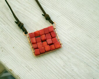 Abacus Pendant Boho Red Coral Square Pendant plaid pendant Natural blue gemstone pendant.