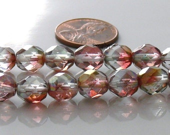 Crystal Rose Luster Czech Beads Fire Polished 8mm 20 Faceted Round