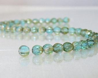 Aquamarine Celsian Czech Glass Beads 5mm Fluted 50 Melon