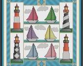 PDF Download - Sail Away Lighthouses And Sailing Boats - An Original Cross Stitch Chart by CrossStitchCards