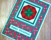 Happy Christmas Red and Green Poinsettia Handmade Cross Stitch Greetings Card