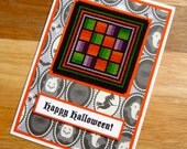 Happy Halloween Handmade Cross Stitch Card in Black Orange and Green Rail Fences Design