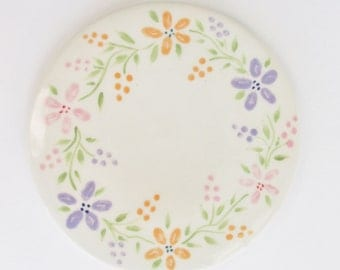Small Spring Floral Ceramic Trivet, Pottery Trivet, Bright Floral Hot Plate, Pottery Spoon Rest