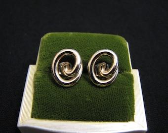 Vintage Gold Tone Swirled Knot Pierced Earrings