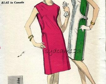 Vintage 1960s Panelled Sheath Dress Pattern Side Back Button Belt Unique Design Vogue 6736 Bust 34 UNCUT