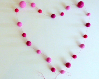 Sweet Pink garland  --  beautiful shades of pink --  5.5ft long garland felt balls -  valentines gift - felt balls - rose raspberry pinks