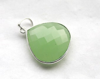Faceted Green Chalcedony Gemstone Pendant in Sterling Silver Setting // 21mm x 25mm