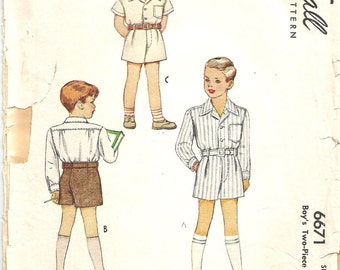 Boys Vintage 40s Pattern 1940s Shirt Shorts Belt  size 2 21 chest McCall 6671 Mc Calls