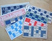 Vintage Bingo Game Cards - Lotto Game Boards - Cardboard Bingo Game Boards - Bingo Ephemera - Cardboard Game Pieces - Blue Bingo - Red Bingo
