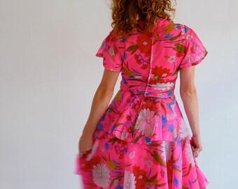 Insane Fluorescent Pink Party Dress with Rah Rah Skirt. Size UK 10 - 12.