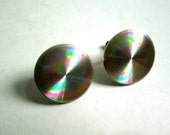 Vintage 1960's, Plastic Space age Hologram Earrings. Sterling Silver Screw Back.