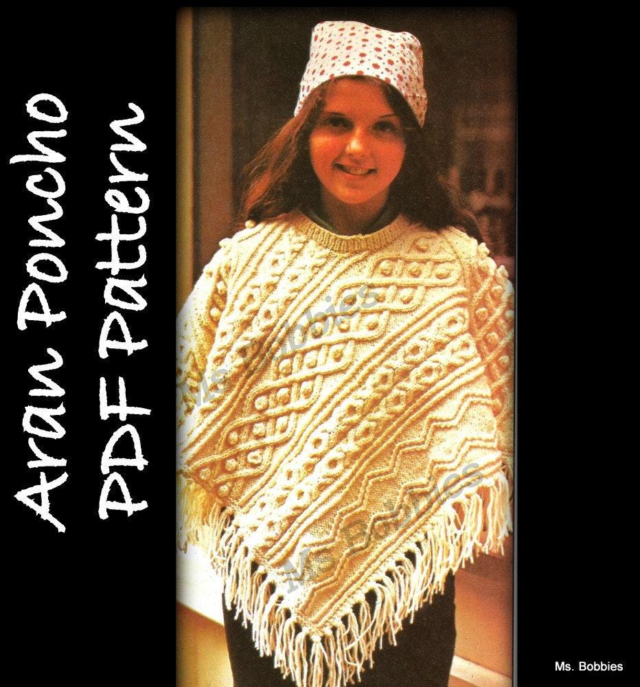 Aran Poncho Pattern Knitting PDF 05111213 by MsBobbies on Etsy