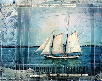 "Day 13 - 11""x14"" paper print - nautical sailing mixed media art"
