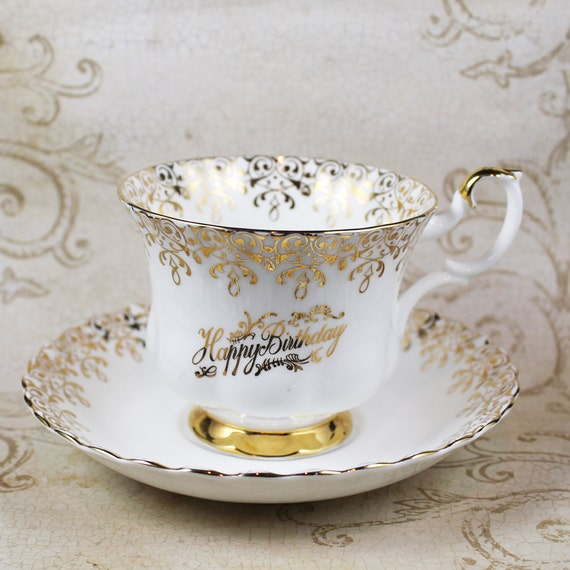 Royal Albert Gold And White Happy Birthday Tea Cup