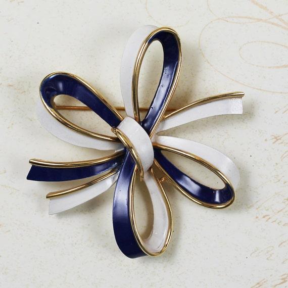 Vintage Navy Blue, Ivory and Gold Trifari Ribbon Bow Brooch