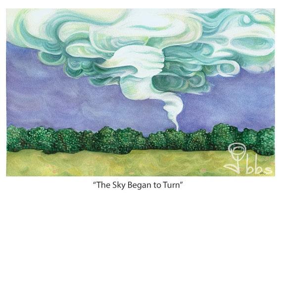tornado painting, nature watercolor, storm landscape weather wall art, original artwork