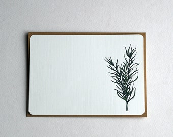 Rosemary Notecard Set, Herbal Notecard set in green and cream  -Set of 3, 6 or 10 flat Notecards and Kraft Envelopes