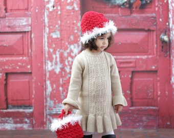 Girl's HAT Beanie CROCHET PATTERN Hat and Bag Santa Holiday Winter Christmas