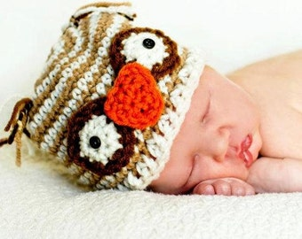 Child Hat Easy CROCHET PATTERN in 4 sizes OWL Striped Beanie