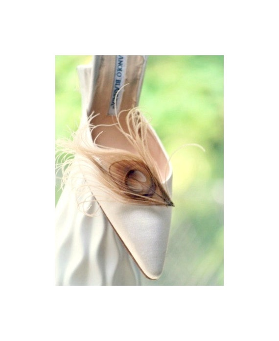 Shoe Clips Champagne Peacock Feathers. Elegant Spring Big Day Couture Clips, Statement Stunning Boudoir, Bride Bridal Bridesmaid Shoe Clips