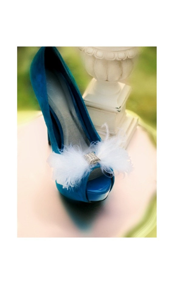 Shoe Clip White / Ivory / Black / Blue / Red Bow. Goose Ostrich Feathers, Bridal Bridesmaid, Elegant Delicate Bold, Wedding Fashion Couture