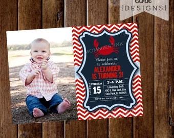 Crab Invitation, Photo Invite, Crab Birthday Party, Chevron Crabby, Boy Birthday, 2nd Birthday, PRINTABLE Invitation Design
