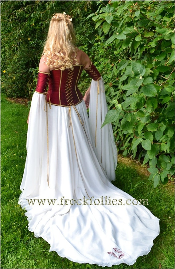 "Medieval Wedding Gown, Elvish Dress, Renaissance Gown, Pre-Raphaelite, Corset, Medieval Dress, Renaissance Dress""Clarissa"""