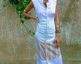 Upcycled Maxi Long Shirt Dress Pale Blue Denim Striped                 Made in England UK