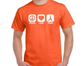 PEACE LOVE YOGA t shirt recycle meditation yoga college humor hip cool orange