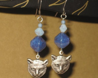 Silver Tone Cat Face Charm Dangle Earrings in Blues and Purples