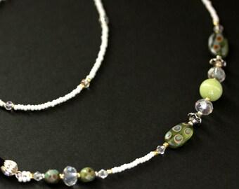 Green Eyeglass Chain. Green Glass Badge Lanyard. Olive Green Eyeglass Holder. Nurses Lanyard. Beaded Glasses Necklace. Handmade Lanyard.