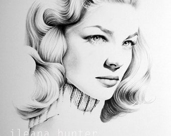 Lauren Bacall Original Pencil Drawing Minimalism Fine Art Portrait