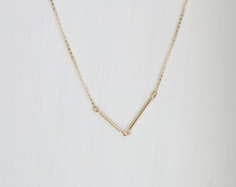 Gold bars necklace, asymmetrical, double bars, v shape, modern, minimalist, womens gift, delicate chain, simple, geometric jewelry - Presley