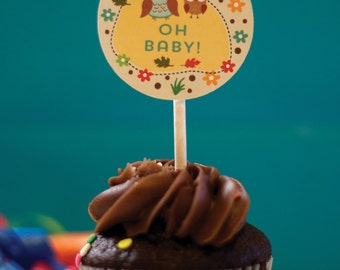 Woodland party cupcake toppers--owls