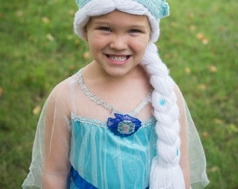 Elsa Hat - 3 To 5 Year Old - Frozen Inspired Elsa Hat - Dress-up Wig - Ready To Ship - Costume - Crocheted