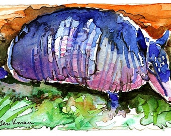 Armadillo Watercolor Print, Artist Signed
