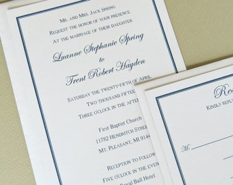 Classic Wedding Invitation and Response Card Set Simple Elegant Traditional Style and Design