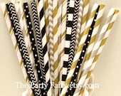 Paper Straws, 25 Gold, Black and Silver Party Straws, Gold Paper Straws, Graduation Party, Elegant Wedding Straws, Formal Events, Mason Jars