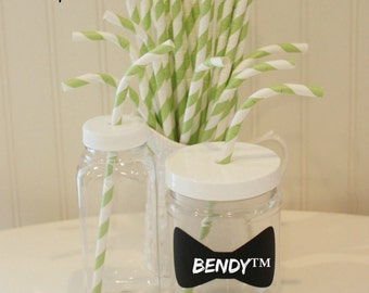 Paper Straws, MADE In USA, 20 BENDY Vintage Green Stripe Paper Straws, Green Paper Straws, Kids Paper Straws, Drinking Straws, Party Straws