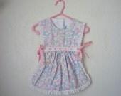 Vintage Pastel Floral Apron Top, Size 2T/3T